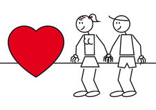 Stick figures couple in love. Illustration of two stick figures. A couple in love with a big heart Stock Photo