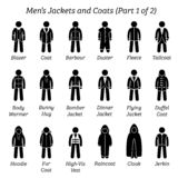 All men jackets and coats designs. stock illustration