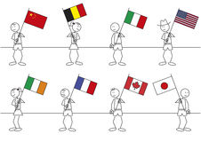 Stick figures flags Royalty Free Stock Photography