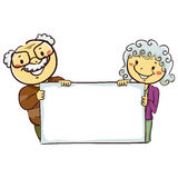 Stick Figures of Grandparents Holding a Blank Board Stock Photos