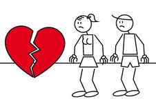 Stick figures heart break. Illustration of two stick figures. A couple with a big heart break Stock Photography