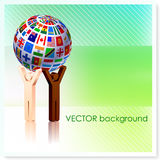Stick Figures holding Flag Globe on Vector Background Stock Photography