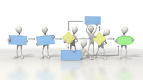 Stick figures holding a flow chart. Grey stick figures in a line holding flow chart inserts. On white background with clipping path stock illustration