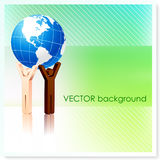 Stick Figures Holding Globe on Vector Background Royalty Free Stock Images
