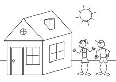 Stick figures house. Illustration of a happy couple with a house. Stick figure Stock Photos