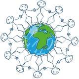 Stick figures hugging the global world. Stick figures hugging around the global world Stock Photography