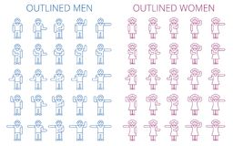 Stick figures icon set. Outlined pictogram of men and women. Various human poses and gestures concept. Flat line vector elements for web design, infographic Royalty Free Stock Photography