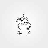 Stick figures in love icon vector. Family stick figures in love icon over white background, vector illustration Stock Image