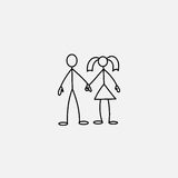 Stick figures in love icon vector. Family stick figures in love icon over white background, vector illustration Royalty Free Stock Photo