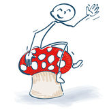 Stick figures with lucky mushroom. And toadstool Royalty Free Stock Photography