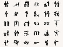 Stick figures Military. Pictograms. Vector Monochrome illustration pictogramms Stock Images
