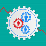 Stick figures of people in the gears , one red . The interaction Stock Photo