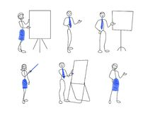 Stick figures are presenting. Collection of stick figures in presentation poses. Doodle style men and women are showing to something. Vector illustration set Royalty Free Stock Photo