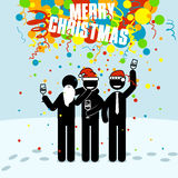 Stick figures with red hat.  Colleagues celebrate new year. Slapstick with confetti fall from above. Snow winter background. Vector christmas illustration Royalty Free Stock Photography