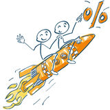 Stick figures on a rocket and flying to the percentages. Stick figures sitting on a rocket and flying to the percentages Royalty Free Stock Photo