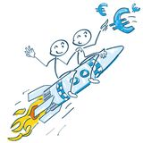 Stick figures on a rocket and flying Euros Stock Images