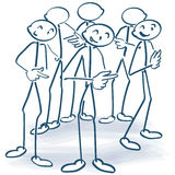 Stick figures standing in a circle and give responsibility further Royalty Free Stock Images