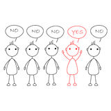 Stick figures standing in a row saying No, one being highlighted in red color and hands up saying Yes. Stock Photos