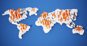 Stick figures standing on world map. 3d illustration.  Royalty Free Stock Image