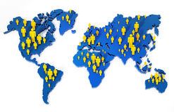 Stick figures standing on world map. 3d illustration.  Stock Image