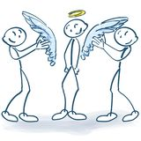 Stick figures sticking wings to a angel. Stick figures sticking wings to a little angel Royalty Free Stock Image