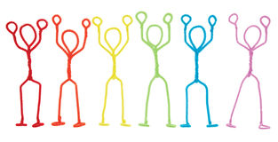 Stick figures stickup - arms raised overhead Royalty Free Stock Images