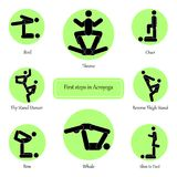 Stick Figures which illustrated first steps in Acroyoga. Stick Figures which illustrated easy asanas poses in Acroyoga Partner yoga Royalty Free Stock Images