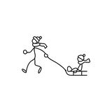Stick figures winter activities Royalty Free Stock Images