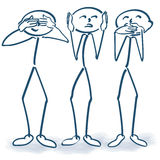 Stick Figures With No Listening Nothing To See And Say Stock Image