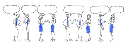 Stick figures withspeach bubbles. Stick people figures with speech bubbles. Communication concept. Doodle style men and women are talking. Vector illustration Stock Photo
