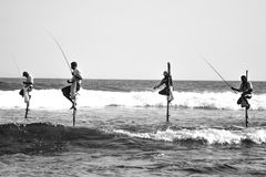 Stick Fishermen Stock Photography