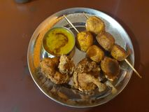 Stick food is famous in Bhaktapur, Nepal. Stick potato is favorite food of all in Nepal stock photo