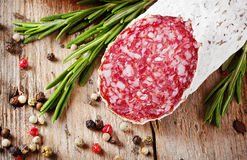 Stick fresh salami with pepper Stock Photography