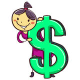 Stick Girl Kid with Big Dollar Sign Royalty Free Stock Photography