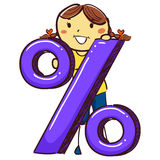 Stick Girl with Percentage Icon. Vector Illustration of Stick Girl with Percentage Icon Royalty Free Stock Image
