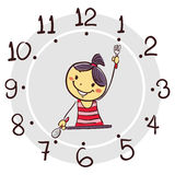 Stick Girl Using His Arm As Clock Hand Pointing 7 O`clock For Breakfast Stock Photo