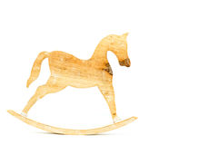 Stick horse sculpted carved on natural wood isolated on white ba. Ckground Stock Images