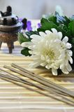 Stick incense and flower Royalty Free Stock Image