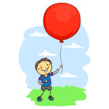 Stick Kid Boy Holding a Big Red Balloon Stock Photos