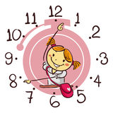 Stick Kid Girl Showing Using Her Arm As Hand Clock Pointing 8 O`clock Royalty Free Stock Images