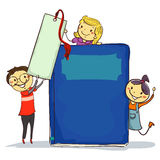 Stick Kids beside Big Book and Bookmark Royalty Free Stock Photos