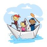 Stick Kids on a Paper Boat royalty free illustration