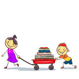 Stick Kids Pulling a Wagon Load of Books Royalty Free Stock Image