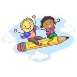 Stick kids sitting on a Flying Pencil stock illustration
