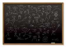 Stick man blackboard Royalty Free Stock Photo