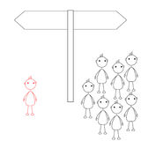 Stick man chooses a different path then the rest. Stick figures standing in front of road sign. An individual chooses a different path then the rest Stock Image