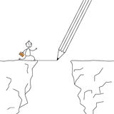 Stick man crossing the cliffs with a pencil drawing the bridge Royalty Free Stock Photo