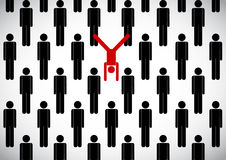 Stick man crowd and yogi. Vector stick man crowd and yogi in inverted pose on hands Royalty Free Stock Photo