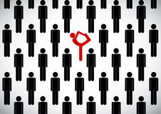 Stick man crowd and yogi. Vector stick man crowd and yogi in inverted pose on hands Stock Photo