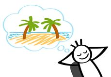 Stick man dreaming of tropical island, vacation, leaning back in office chair, smiling. Isolated on white background royalty free illustration